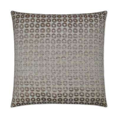 Mirabelle Taupe Feather Down 24 in. x 24 in. Decorative Throw Pillow