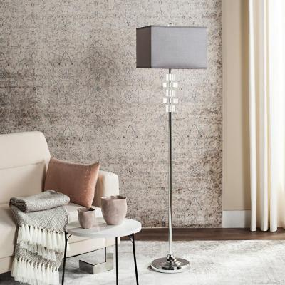 Times 60.25 in. Clear Square Floor Lamp with Gray Shade