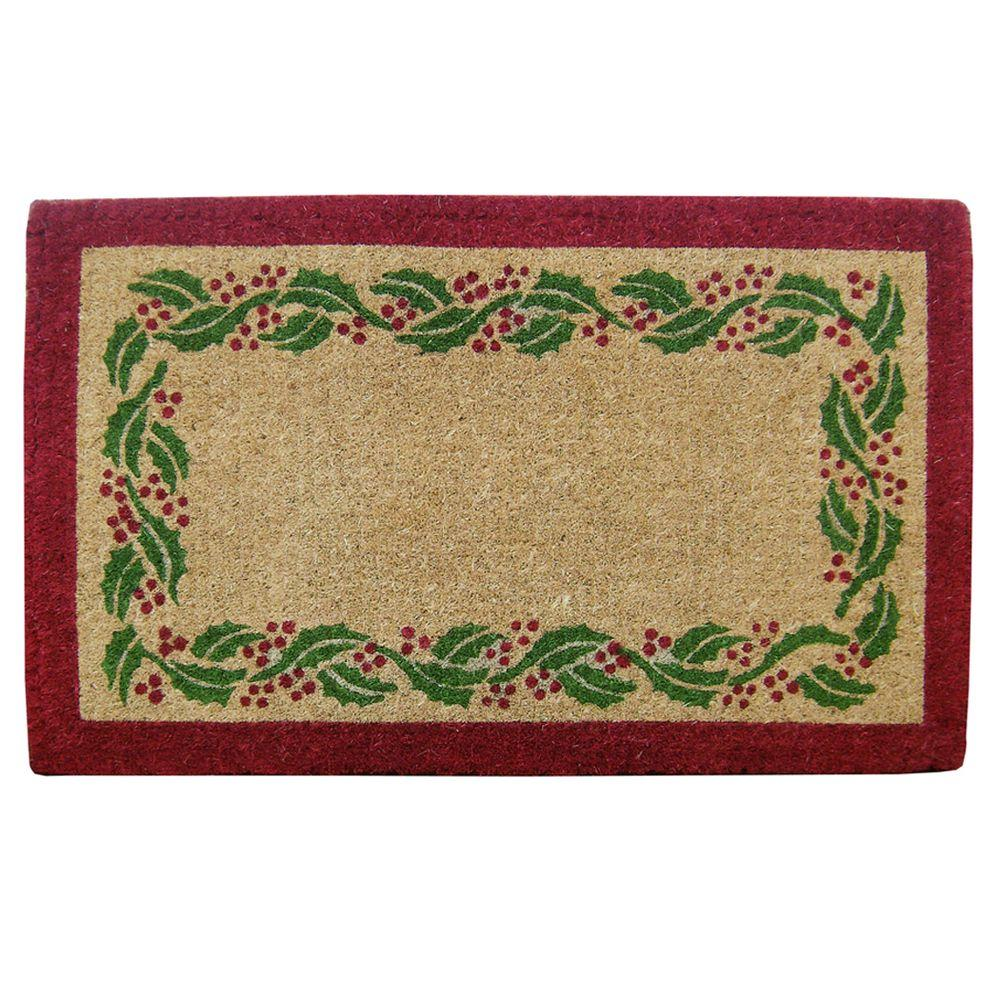 Nedia Home Holly Ivory Tan 22 in. x 36 in. Coir Comfort Mat