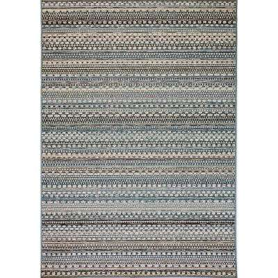 Brighton Beige/Blue 5 ft. 3 in. x 7 ft. 7 in. Contemporary Polypropylene Area Rug