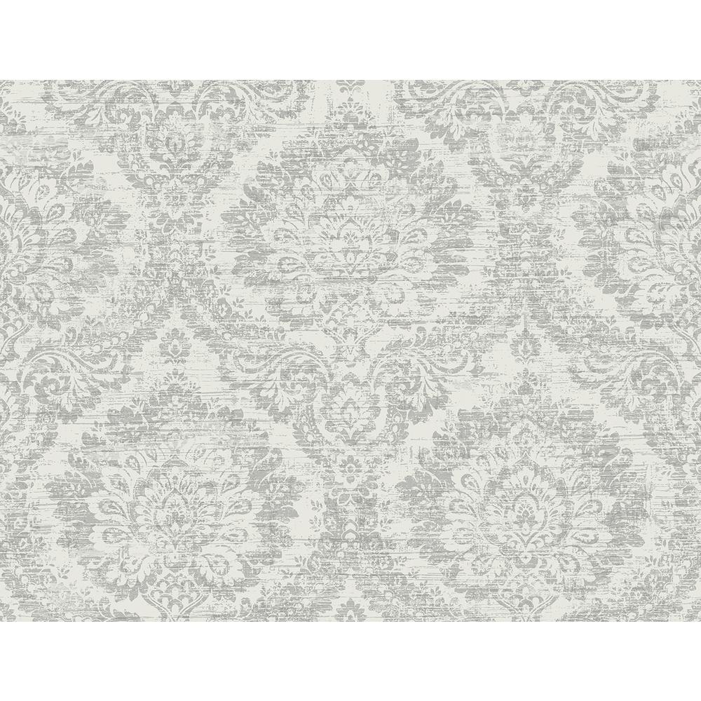 Kauai Grey Damask Wallpaper Sample