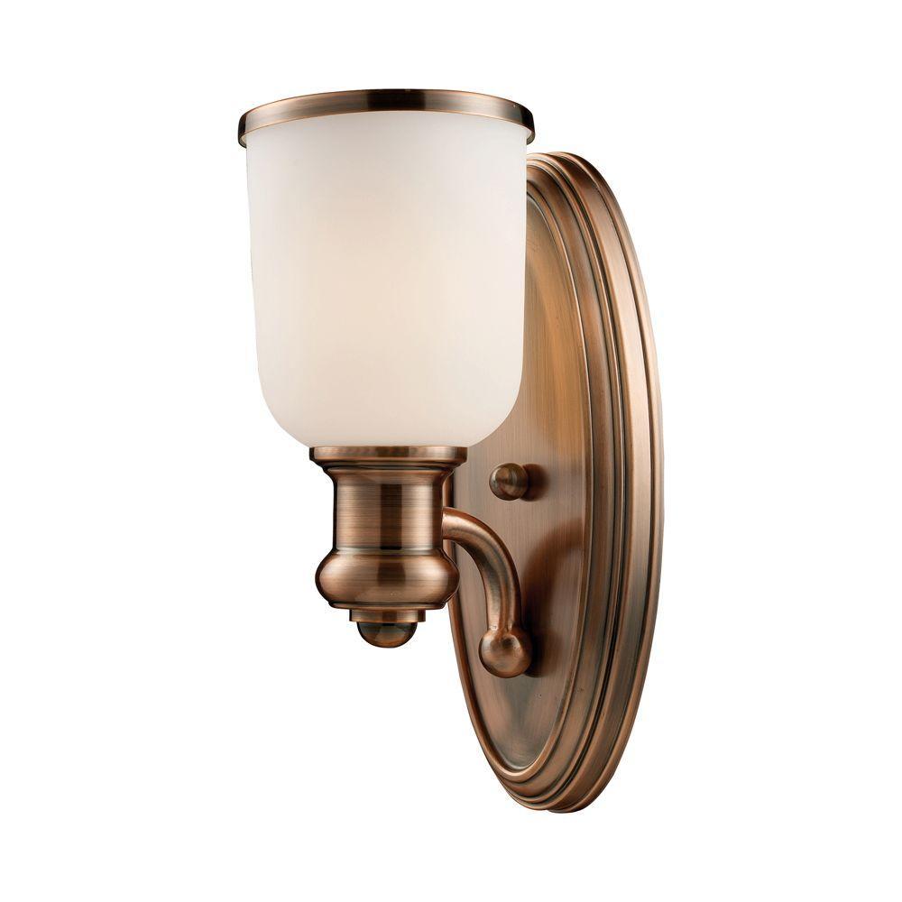 Brooksdale 1-Light Antique Copper Sconce  sc 1 st  The Home Depot & Titan Lighting - Copper - Sconces - Lighting - The Home Depot azcodes.com