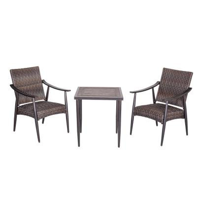 3-Piece Aluminum Outdoor Patio Bistro Set with 2 Wicker Arm Chairs and 26.5 in. H Square Crafttech Top Bistro Table