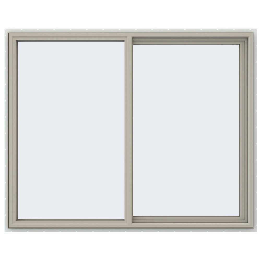 JELD-WEN 59.5 in. x 47.5 in. V-4500 Series Right-Hand Sliding Vinyl Window - Tan