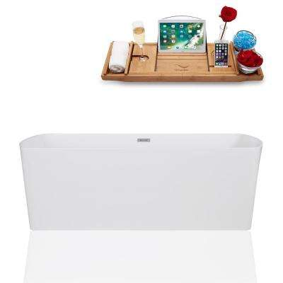 67 in. Solid Surface Resin Flatbottom Non-Whirpool Bathtub in Glossy White