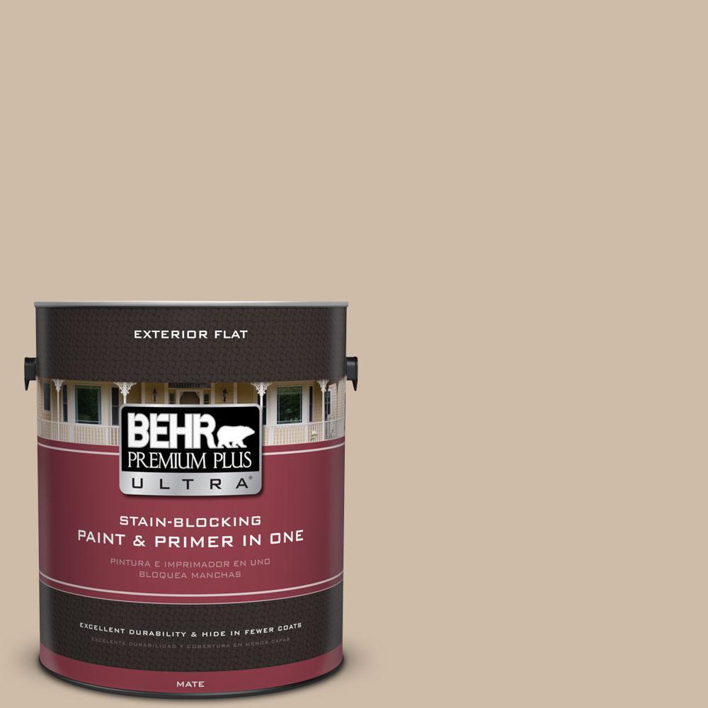 BEHR Premium Plus Ultra 1-gal. #PWL-83 Distant Tan Flat Exterior Paint