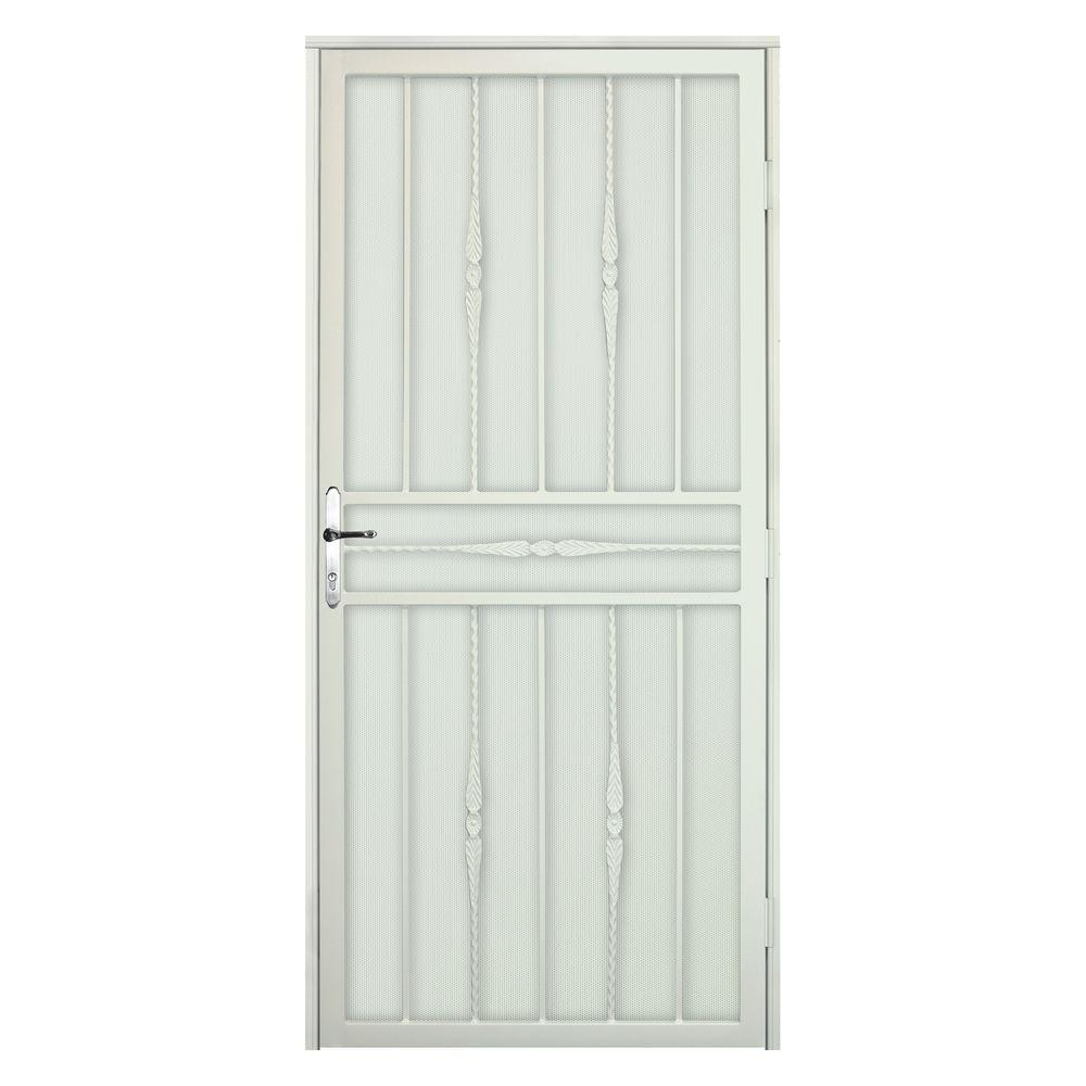 Unique Home Designs 36 in. x 80 in. Cottage Rose Navajo White RH Recessed Mount  Door with Perforated Screen and Nickel -DISCONTINUED