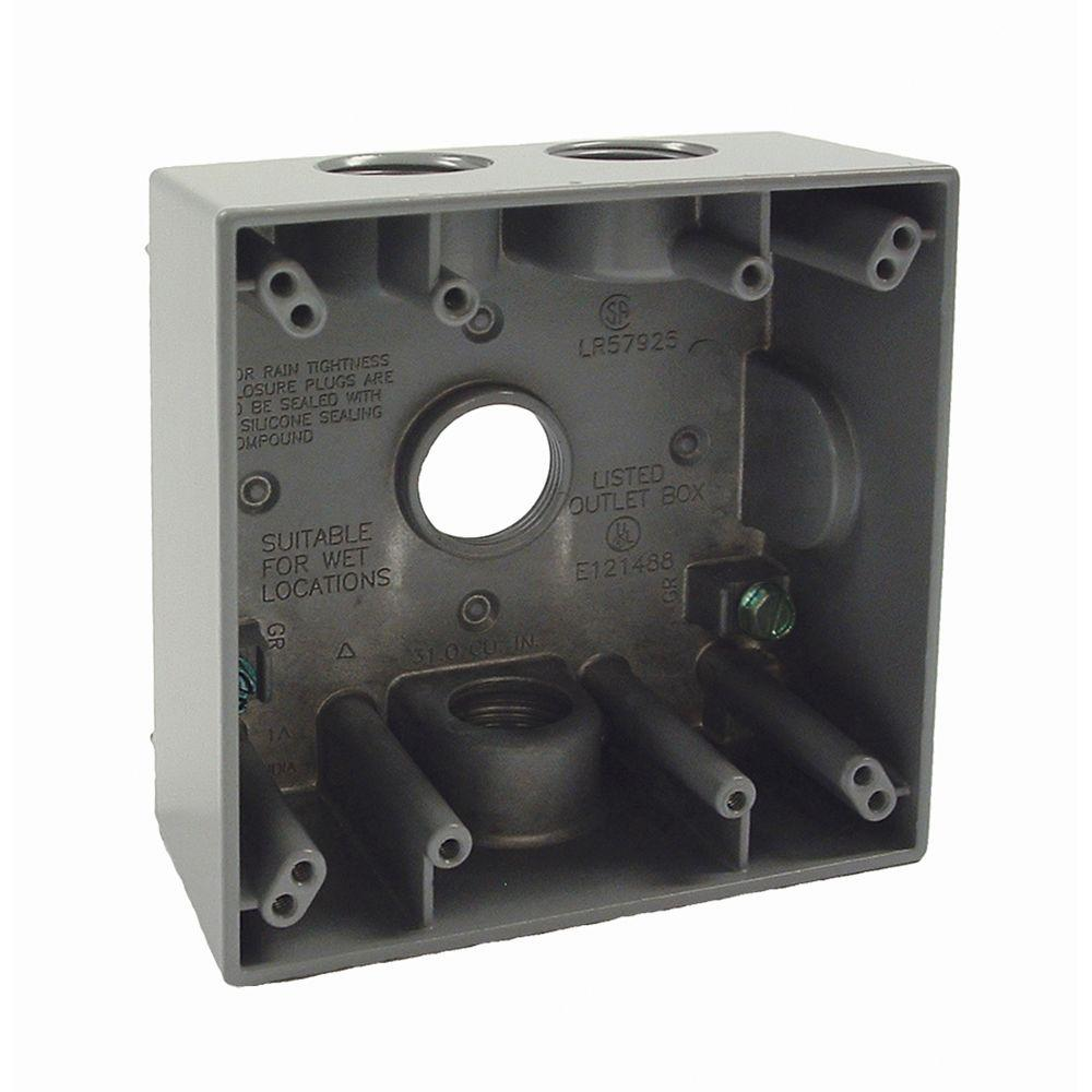 4 4 Weatherproof Electrical Box: BELL 2-Gang Weatherproof Box With Four 3/4 In. Outlets