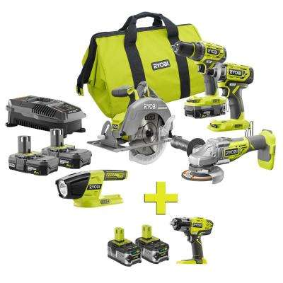 18-Volt ONE+ Lithium-Ion Cordless Brushless 5-Tool Combo Kit w/ Bonus 3-Speed Impact Wrench & (2) 4.0 LITHIUM+ Batteries