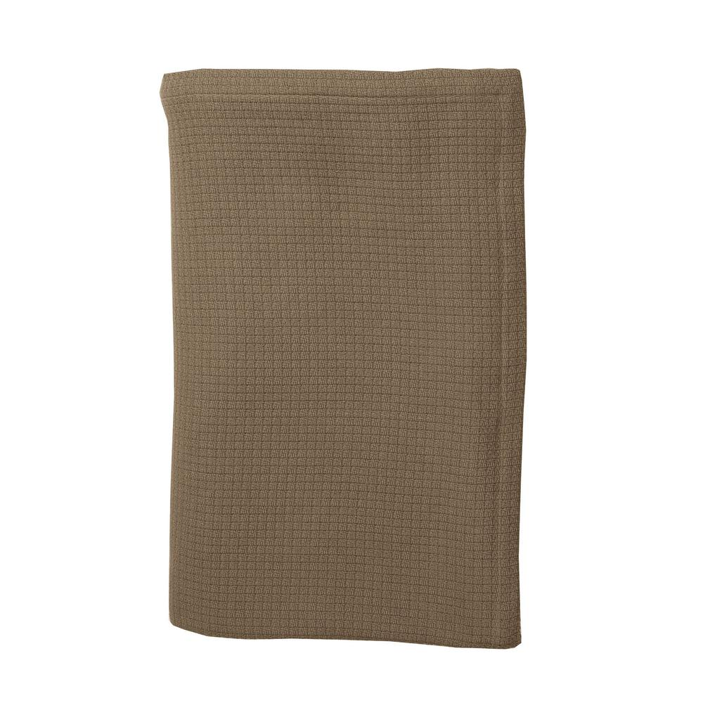Cotton Weave Walnut Twin Blanket