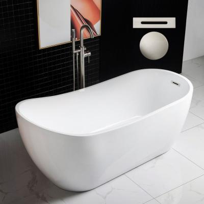 Bayonne 67 in. Acrylic Freestanding Single Slipper Flat Bottom Soaking Bathtub with Drain and Overflow Included in White