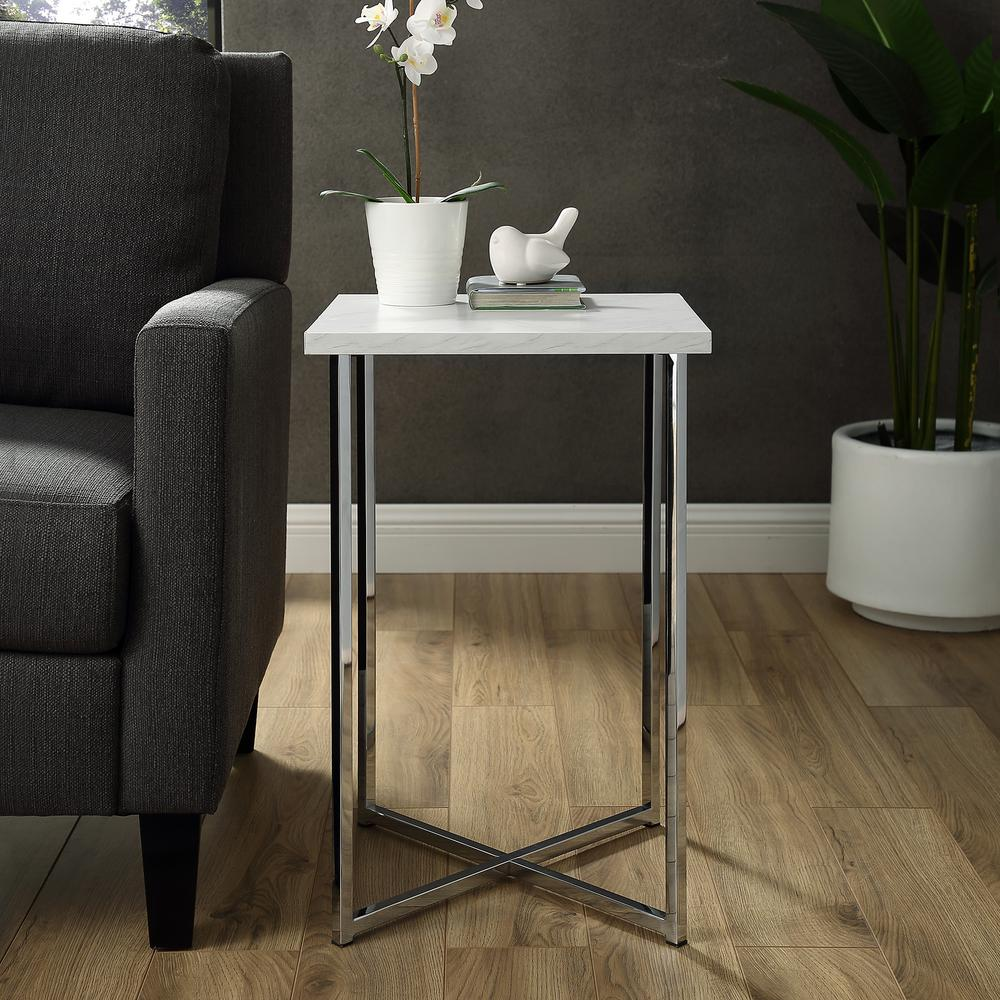 Walker Edison Furniture Company 16 In. White Marble Top Chrome Legs Square  Side Table