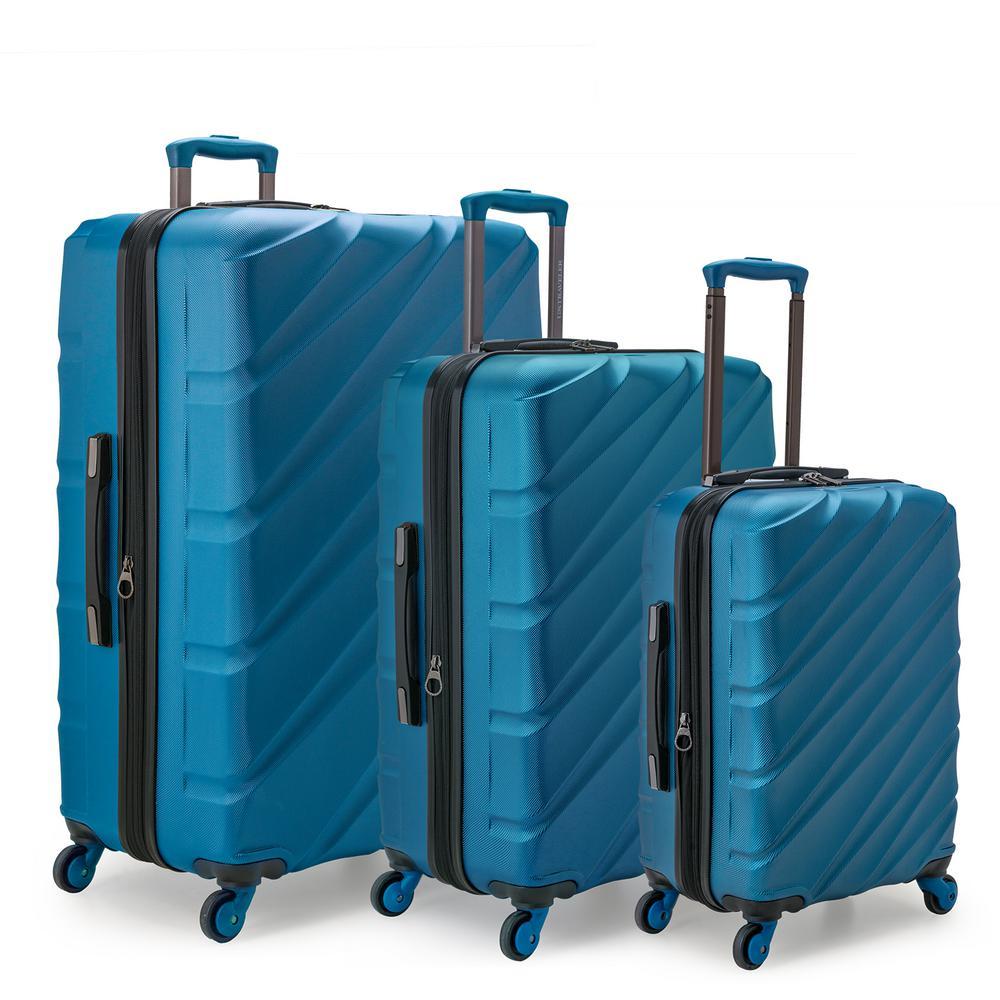 U.S. Traveler Gilmore 3-Piece Blue Expandable Hardside 4-Wheel Spinner Luggage