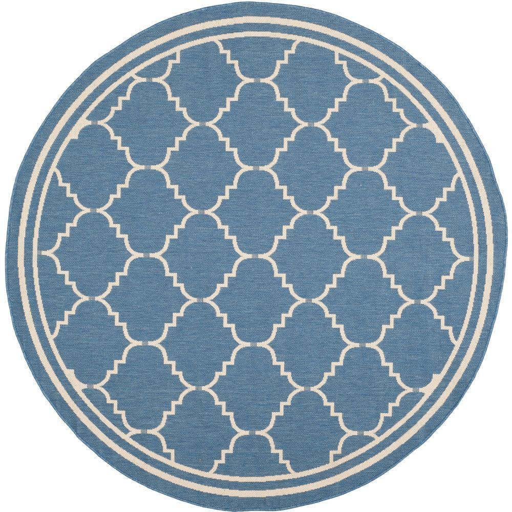 Safavieh Courtyard Blue/Beige 6 ft. 7 in. x 6 ft. 7 in. Round Area Rug