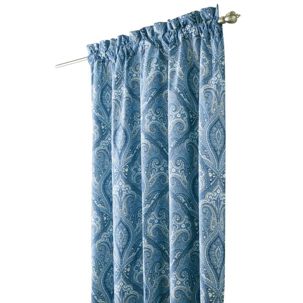 Semi-Opaque Dandridge 84 in. L Cotton Drapery Panel in Indigio