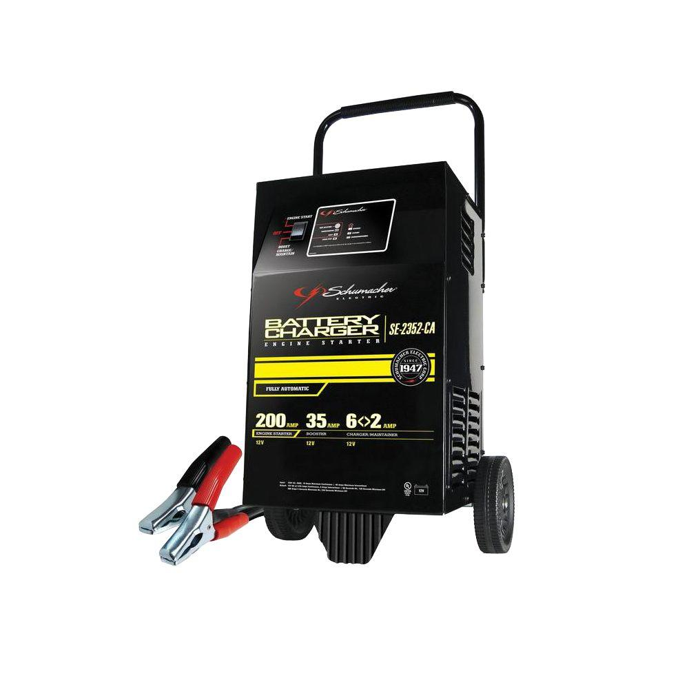 Schumacher 12-Volt Fully Automatic Wheel Battery Charger with Engine ...