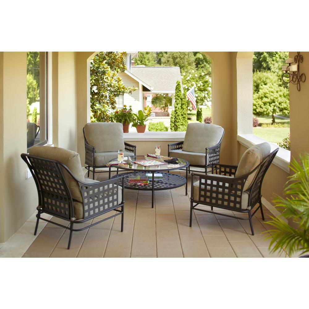 Hampton Bay Lynnfield 5-Piece Patio Conversation Set with Gray Beige  Cushions - Hampton Bay Lynnfield 5-Piece Patio Conversation Set With Gray Beige