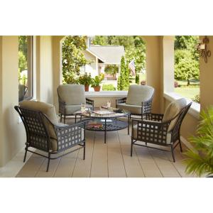 Lynnfield 5-Piece Patio Conversation Set with Gray Beige Cushions