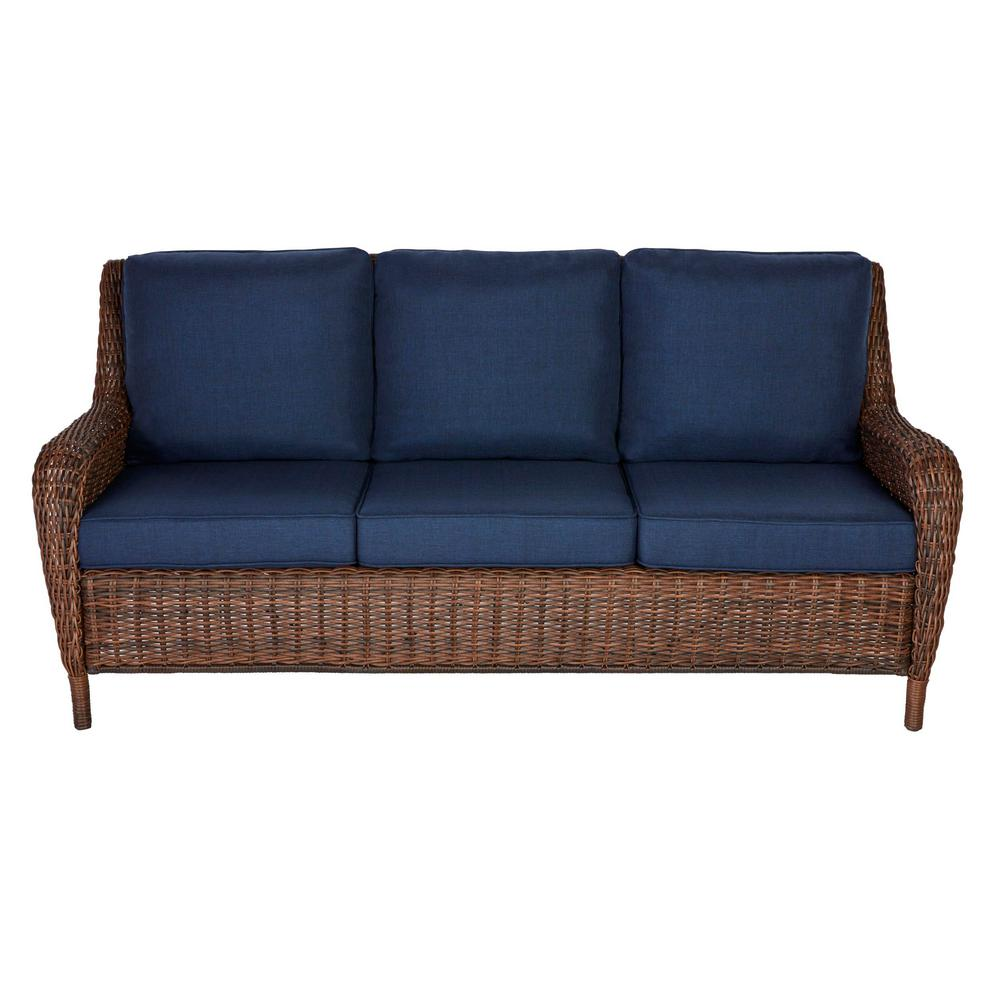 Cool Hampton Bay Cambridge Brown Wicker Outdoor Patio Sofa With Standard Midnight Navy Blue Cushions Gmtry Best Dining Table And Chair Ideas Images Gmtryco
