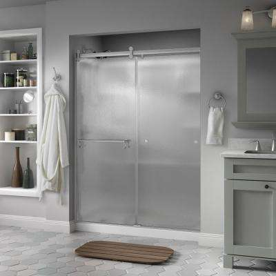 Portman 60 in. x 71 in. Semi-Frameless Contemporary Sliding Shower Door in Nickel with Rain Glass