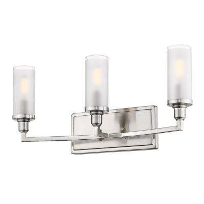Ellyn 10 in. 3-Light Pewter with Frosted Glass and a Clear Rim Accent Bath Vanity Light