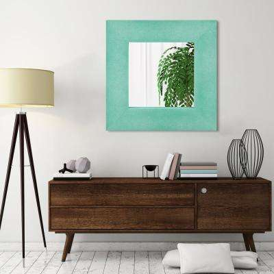 30 in. x 30 in. Teal Metallic Shagreen Leather Framed Beveled Mirror