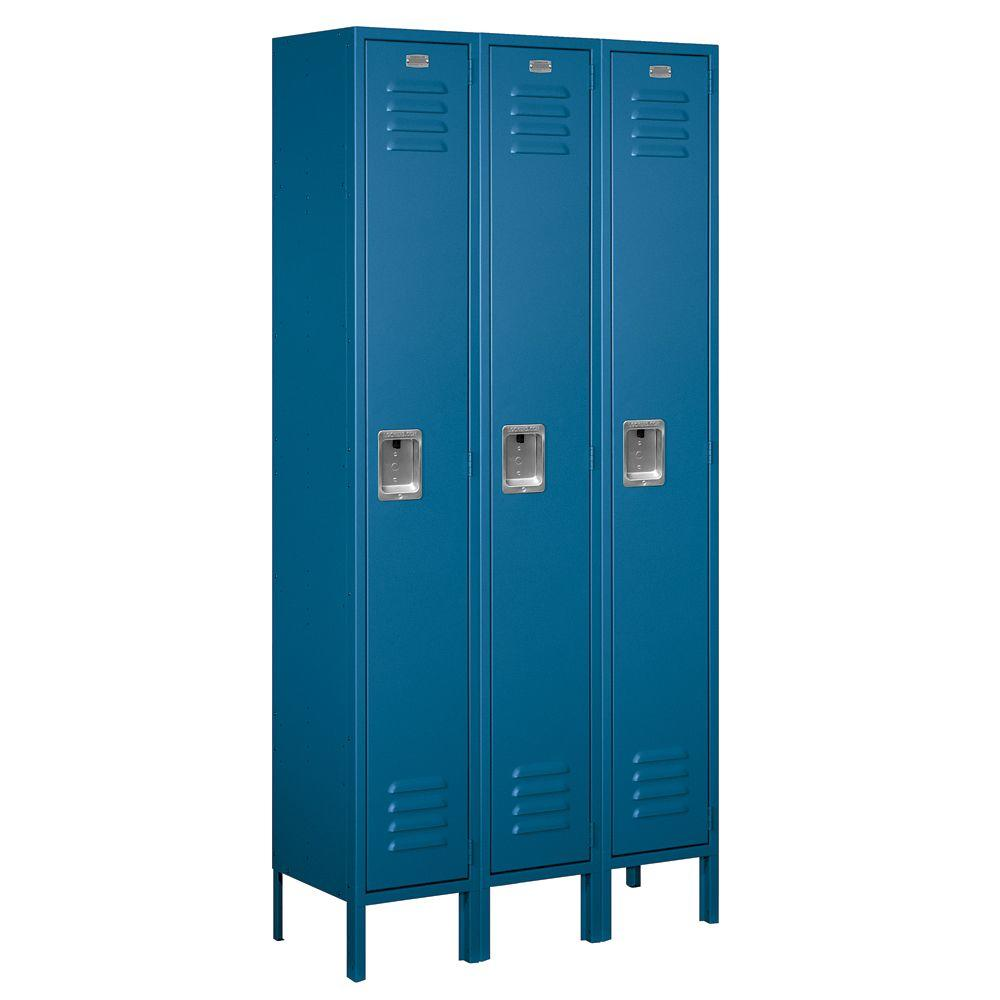 Salsbury Industries 61000 Series 36 in. W x 78 in. H x 12 in. D Single Tier Metal Locker Unassembled in Blue