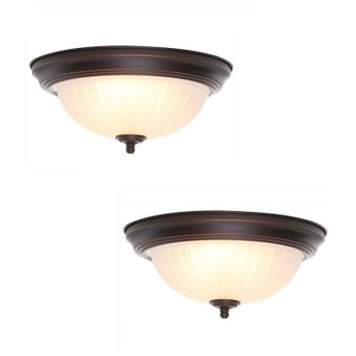 11 in. 100-Watt Equivalent Oil-Rubbed Bronze Integrated LED Flush Mount with Frosted Glass Shade (2-Pack)