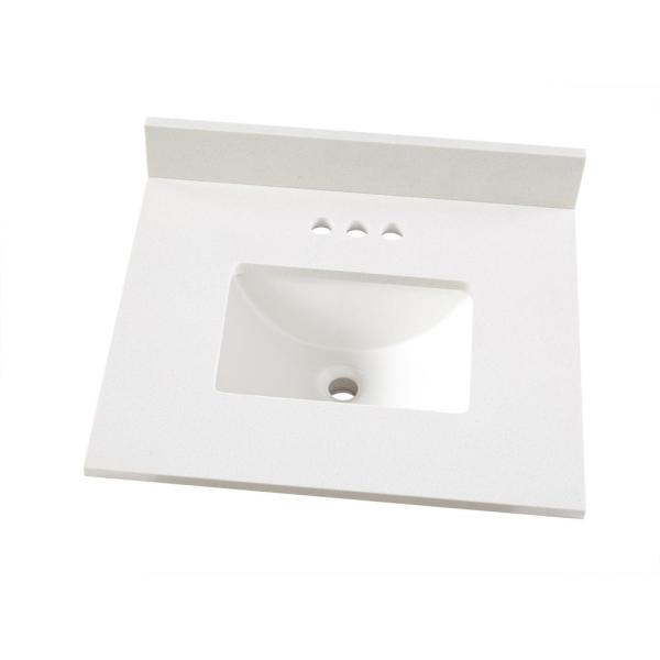 25 in. W x 22 in. D Engineered Marble Vanity Top in Snowstorm with White Single Trough Sink