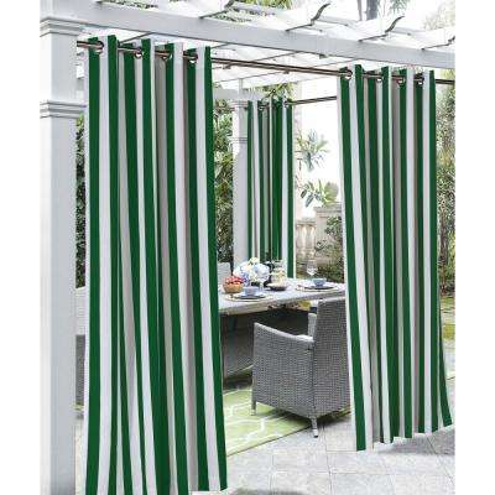 Coastal Stripe Irish Green - 50 in. W x 84 in. L - Outdoor Light Filtering Window Panel
