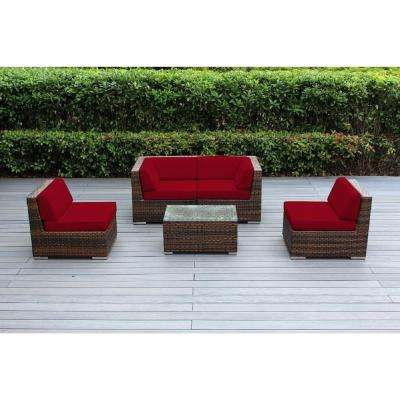 Ohana Mixed Brown 5-Piece Wicker Patio Seating Set with Spuncrylic Red Cushions