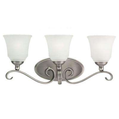 Parkview 23 in. W 3-Light Antique Brushed Nickel Vanity Light with Satin Etched Glass