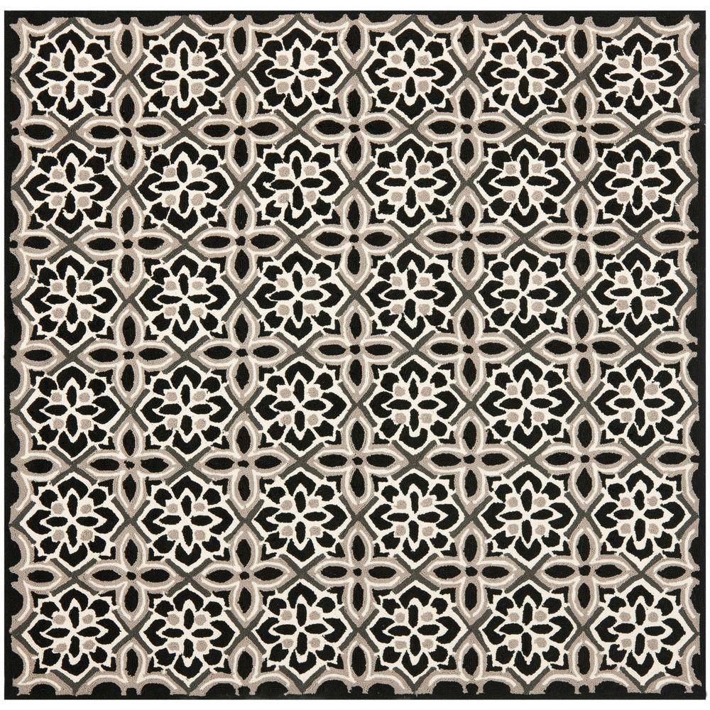 Safavieh Four Seasons Black/Ivory 6 ft. x 6 ft. Square Indoor ...