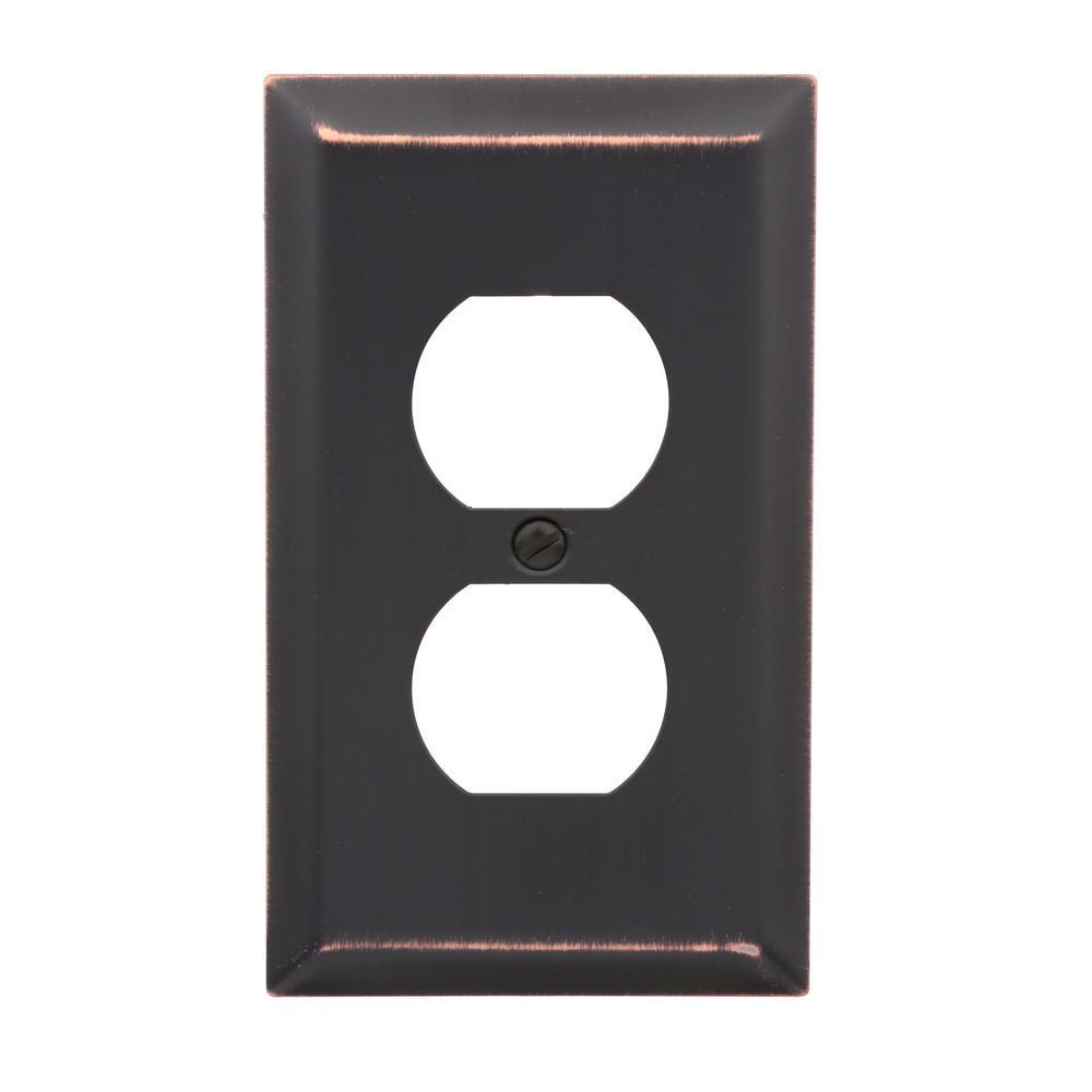 Metallic 1 Gang Duplex Steel Wall Plate - Aged Bronze (2-Pack)