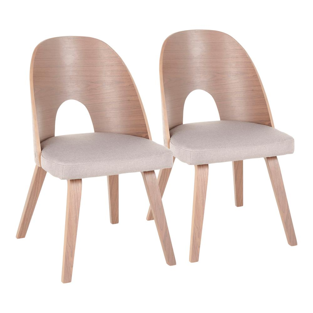 Ellen light walnut wood and light grey fabric dining chairs set of 2