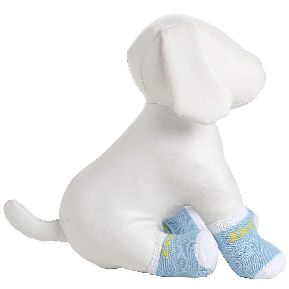 PET LIFE Small Blue and White Dog Socks with Rubberized Soles (Set of 4)