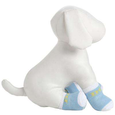 Small Blue and White Dog Socks with Rubberized Soles (Set of 4)