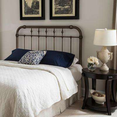 Vienna Queen-Size Headboard with Metal Spindle Panel and Carved Finials in Aged Gold