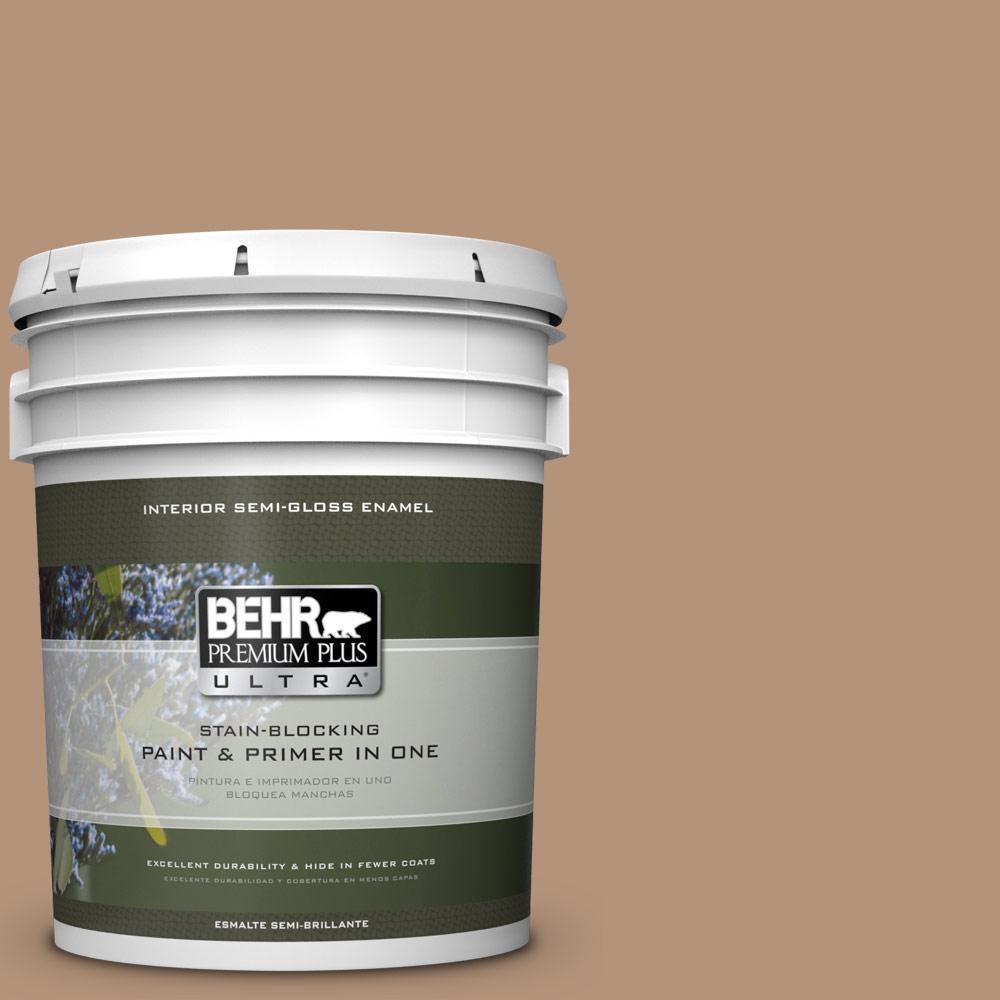 5 gal. #HDC-FL14-6 Gingerbread Latte Semi-Gloss Enamel Interior Paint
