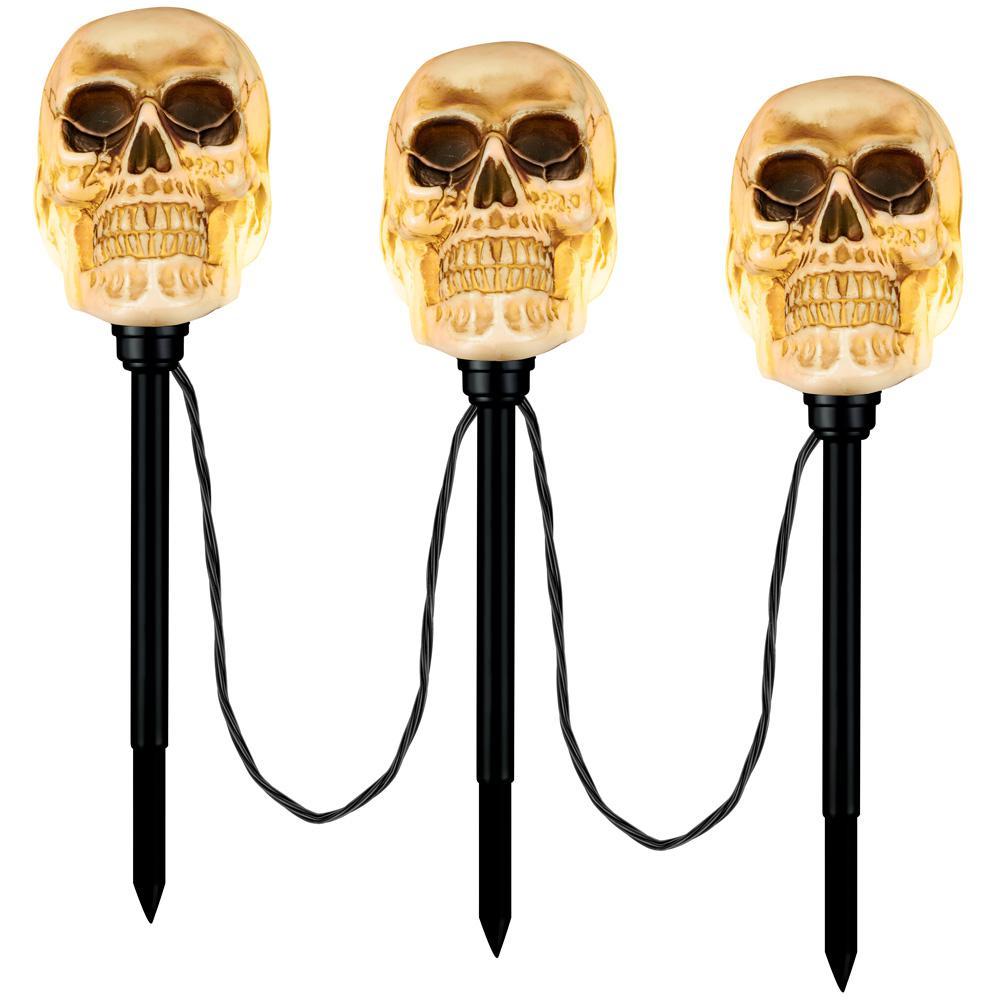 Flickering Skulls Halloween Pathway Markers (3-Count)