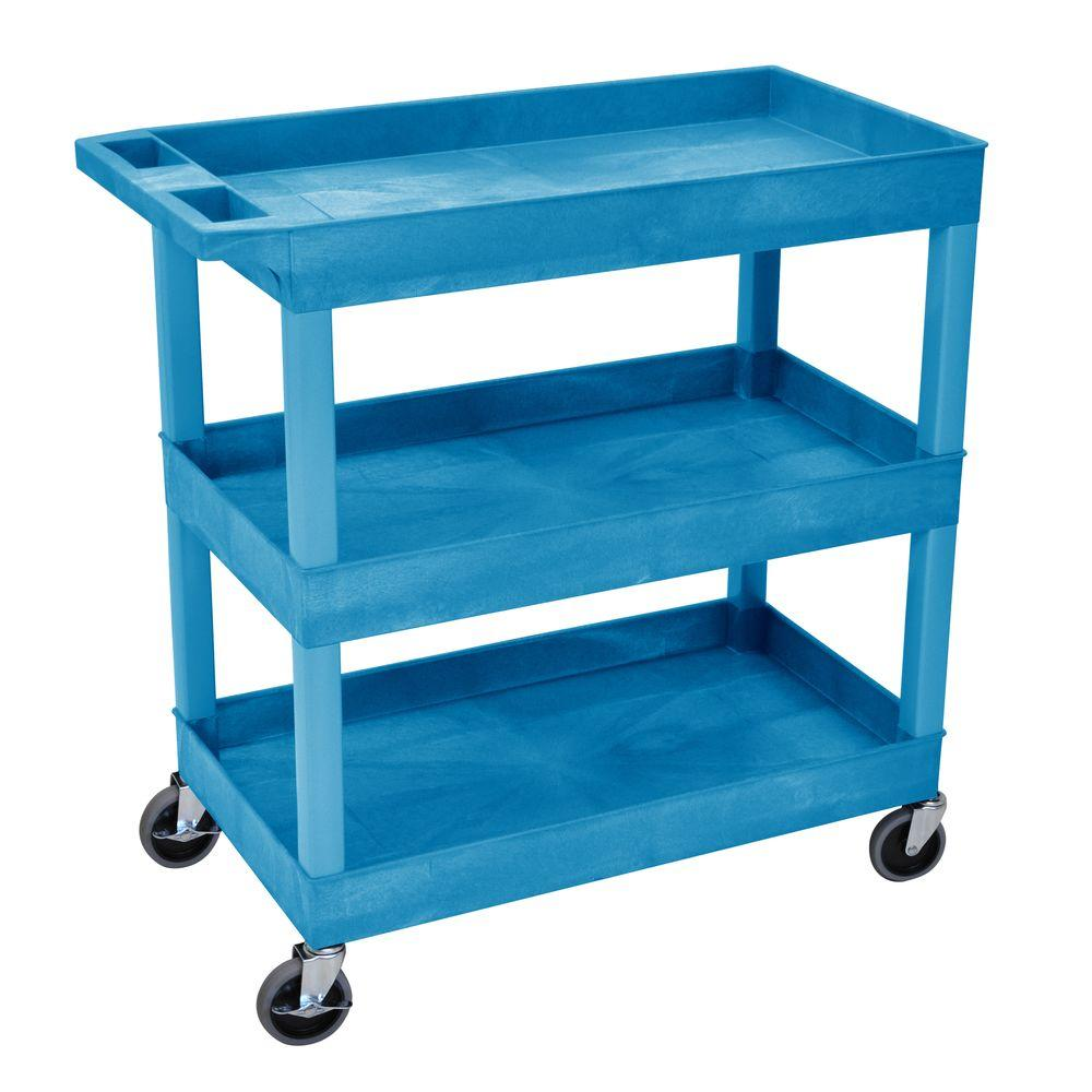 H Wilson 18 in. x 35 in. 3-Tub Shelf Utility Cart, Blue-EC111-BU ...