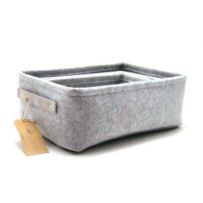 15 in. L x 11 in. W x 5.9 in. H Felt Fabric Grey Nested Baskets (Set of 3)