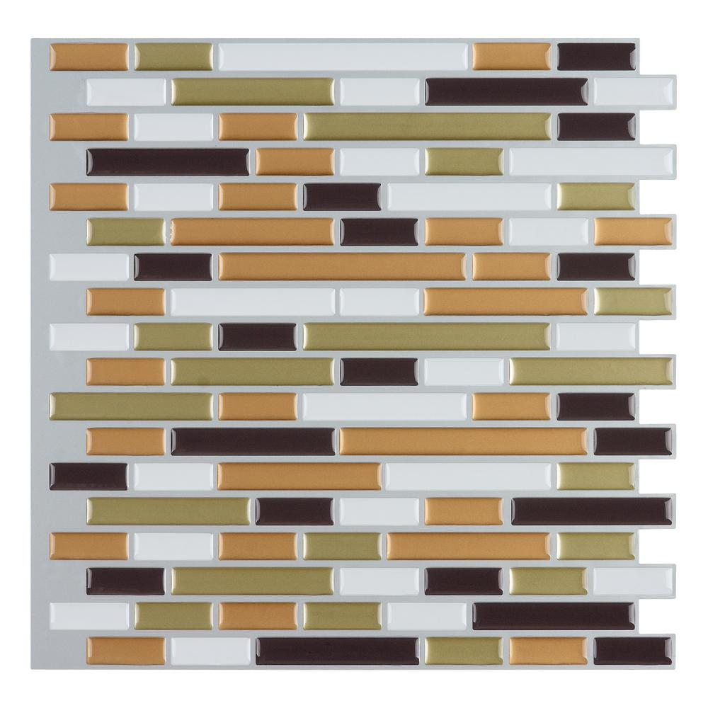 Art3d Art3d 12 in. x 12 in. Multi-color Self-Adhesive Decorative Wall Tile Backsplash for Kitchen (10-Pack)