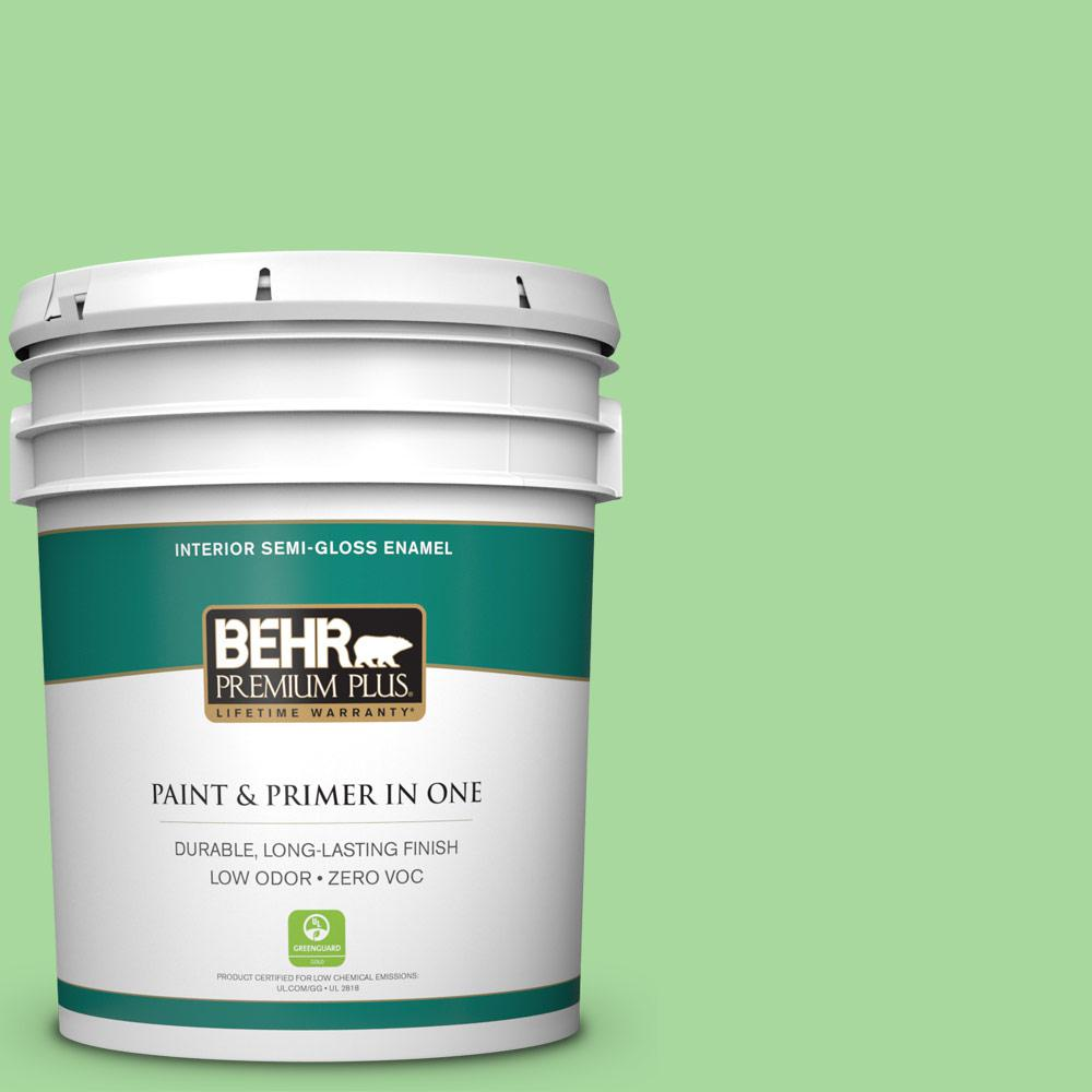 5-gal. #440B-4 Cool Aloe Zero VOC Semi-Gloss Enamel Interior Paint