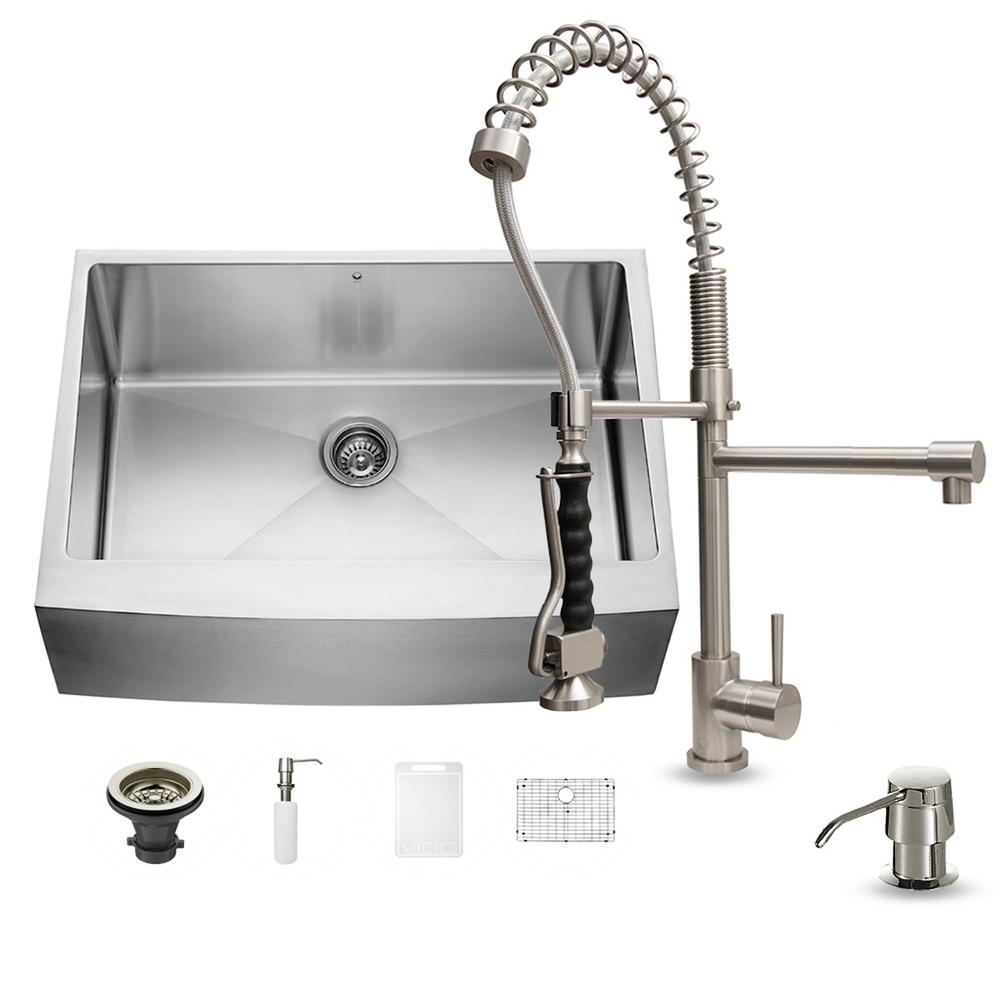 single stainless steel kitchen sink vigo all in one farmhouse apron front stainless steel 30 7965
