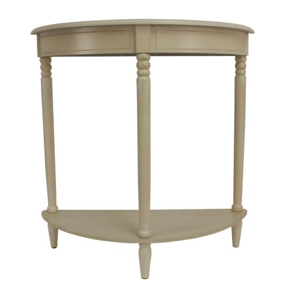Decor Therapy Simplicity Antique White Half Round Console Table FR1746