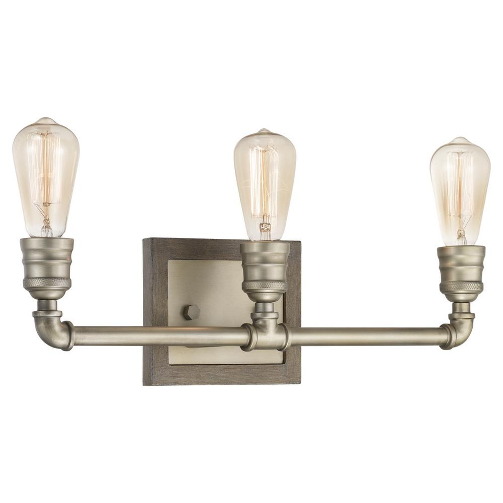 Home Decorators Collection Palermo Grove Collection 3-light Antique Nickel Bath Light with Painted Weathered Gray Wood Accents