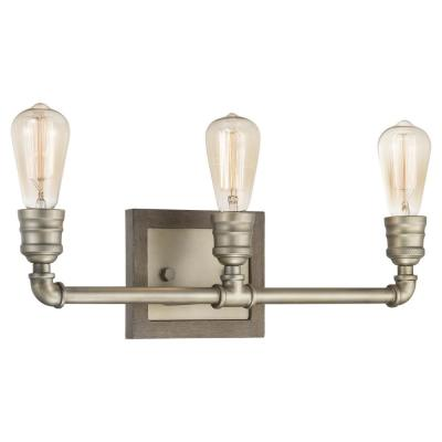 Palermo Grove Collection 3-light Antique Nickel Bath Light with Painted Weathered Gray Wood Accents