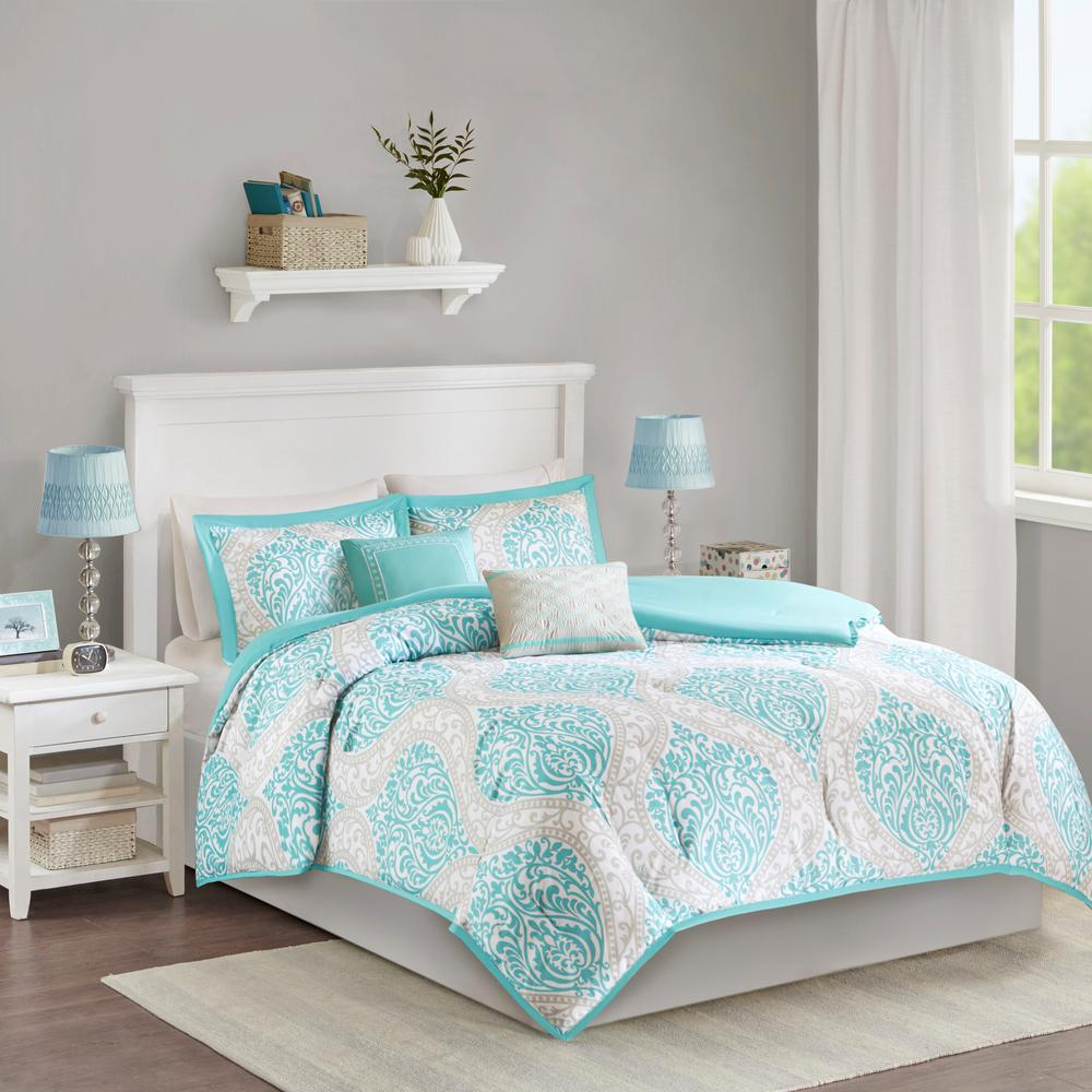 Intelligent Design Sabrina 5 Piece Aqua Fullqueen Print Comforter
