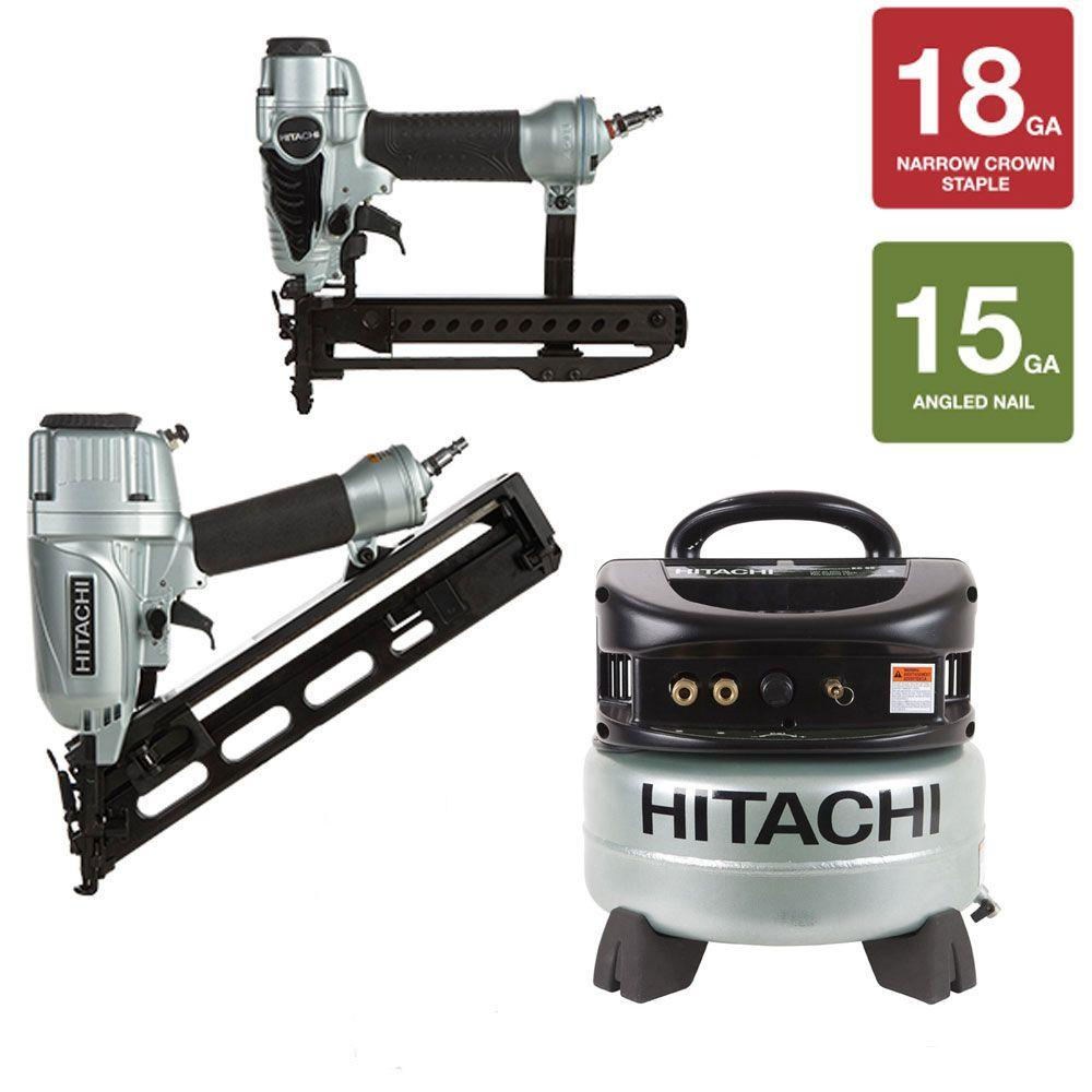 Hitachi 2-1/2 in. Angled Finish Nailer, 1/4 in. Crown Stapler and 6 gal. Compressor Kit (3-Piece)
